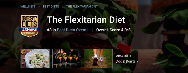彈性素食飲食(The Flexitarian Diet) 圖片截自「美國新聞與世界報導」(U.S. News & World Report)網站
