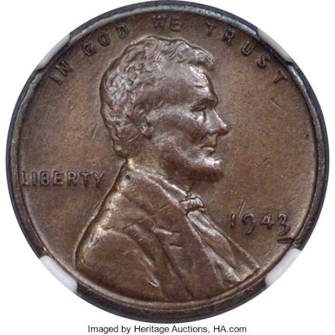 圖為青銅分幣在1943年意外鑄造,是少數已知存在的罕見分幣之一。圖取自遺產拍賣公司(Heritage Auctions)