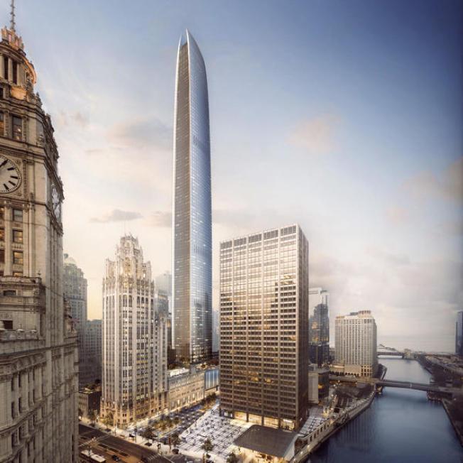 芝加哥市中心論壇報大樓東北角「蝙蝠俠」豪華公寓大樓效果圖。(取自Golub&Co.和洛杉磯CIM集團)