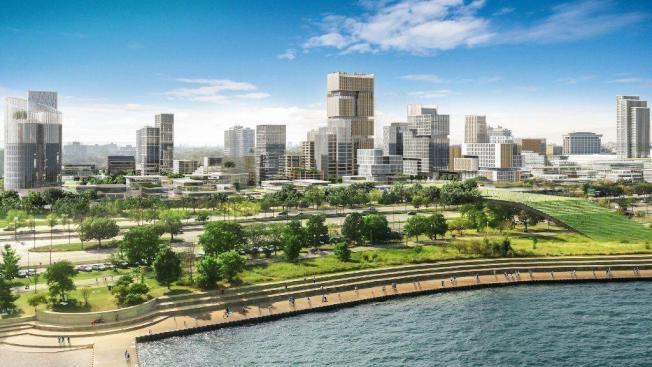 根據伯納姆濱湖區計畫,湖濱大道(Lake Shore Drive)將修建一個公園和一條人行步道。(Farpoint Development rendering)