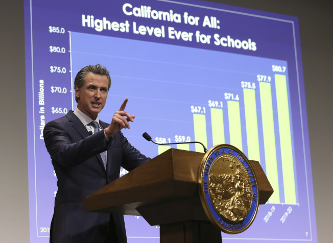 紐森州長發表加州2019-2020會計年度預算案。(美聯社)