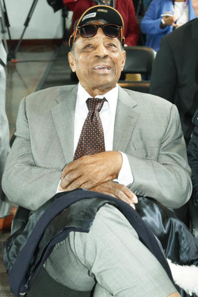 86歲的梅斯對甲骨文球場的未來充滿期待。(記者黃少華/攝影)