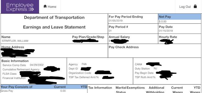 美國政府關閉,一名公務員收到的電子薪資明細表左下顯示薪資為0元。(美聯社)
