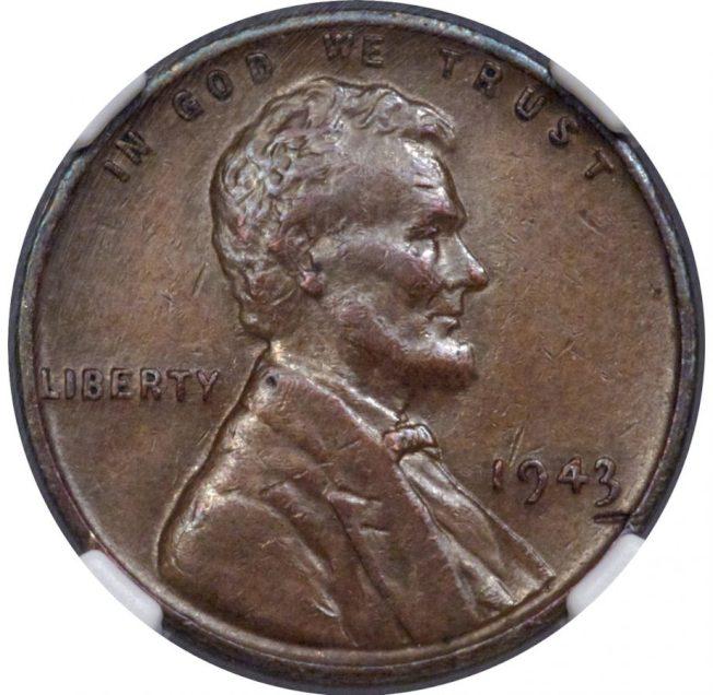 罕見的1943年林肯一分硬幣,以20萬400元賣出。(取自Heritage Auctions官網)