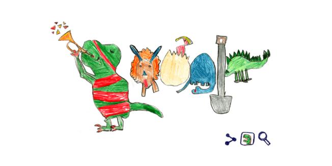 北維州福斯教堂市的7歲女童薩拉獲得2018年谷歌塗鴉創意大賽獎,其作品恐龍塗鴉結合谷歌的交互技術向網友展現多隻恐龍的故事。(取自谷歌塗鴉)