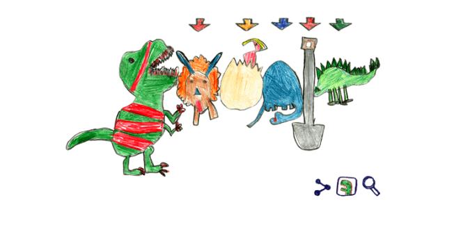 北維州福斯教堂市的七歲女童薩拉獲得2018年谷歌塗鴉創意大賽獎,其作品恐龍塗鴉結合谷歌的交互技術向網友展現多隻恐龍的故事。(取自谷歌塗鴉)