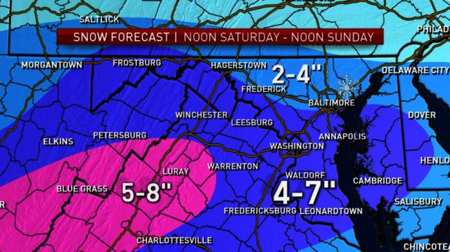 大華府新年第一場雪預計將於12日過午報到。(翻拍自NBC)