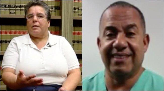 佛羅里達州棕櫚灘外科醫師瓦奎斯(右)因把病患帕契科(左)的腎臟誤認為癌症腫瘤,意外將其切除,同意支付3000元罰款。(WTVR電視台截圖)