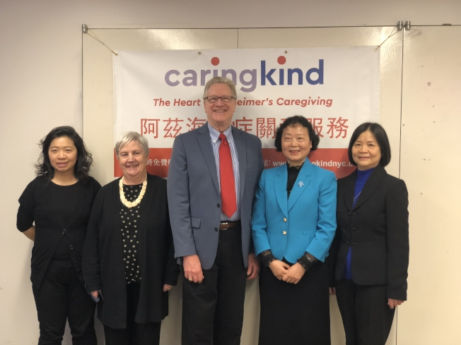 Ann Wyatt(左二起)、Jed A. Levine、石蔚靜以及詹梅桂四人將赴深圳講學,培訓專業人員。(記者張晨/攝影)