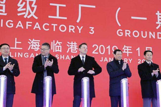 Tesla的上海超級車廠,破土動工。(Getty Images)