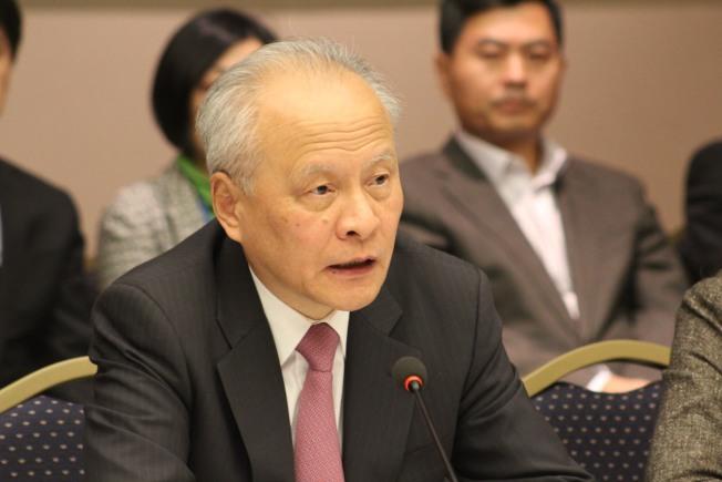 中國駐美大使崔天凱表示,台灣問題要由中國人自己解決,不容外力干涉。(華盛頓記者張筠/攝影)