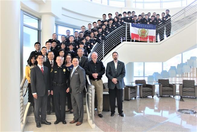 休士頓大學城中校區11日上午在該校公共服務學院會議廳為中央警察大學2019年寒假遊學團舉辦歡迎儀式。(記者郭宗岳/攝影)
