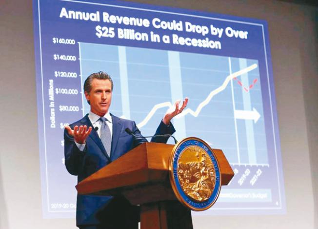 紐森10日提出他的首份州預算案,建議推行社區學院免費的計畫。(美聯社)