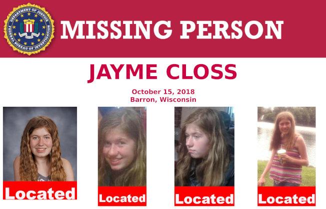 威斯康辛州道格拉斯郡13歲少女潔米.克洛斯雙親被殺,並遭綁架近三個月後奇蹟生還,圖為去年10月聯邦調查局發出的失蹤人口通報。(路透)