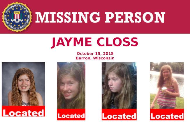 13歲少女潔米‧克洛斯(Jayme Closs)失蹤後,威斯康辛發出尋人的海報。 (路透)