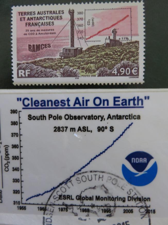 法國在南極洲的氣象觀測站和所測得的大氣中CO2含量資料。(圖皆為作者提供)