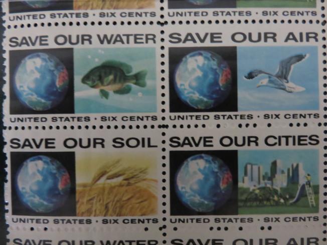 美國在1970年發行的四枚環保郵票。