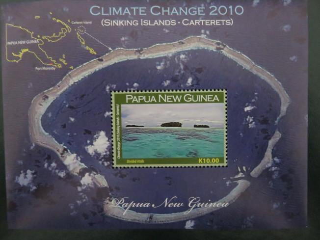 即將被海水淹沒的新幾內亞東部的Carterets小島,小島呈馬蹄形,面積0.6平方公里,海拔1.5米。