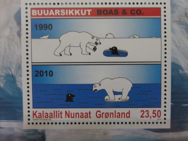 格陵蘭在2010年發行的氣候暖化漫畫郵票。(圖皆為作者提供)
