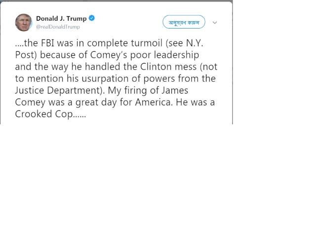 川普推文說,他開除柯米,就美國來說是「偉大的一天」。(川普推特)