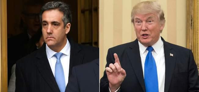 據傳川普總統曾親自指示個人律師柯恩(左,Michael Cohen),就川普集團(The Trump Organization)在莫斯科興建川普大樓(Trump Tower)的計畫案,在國會作證時說謊。Getty Images