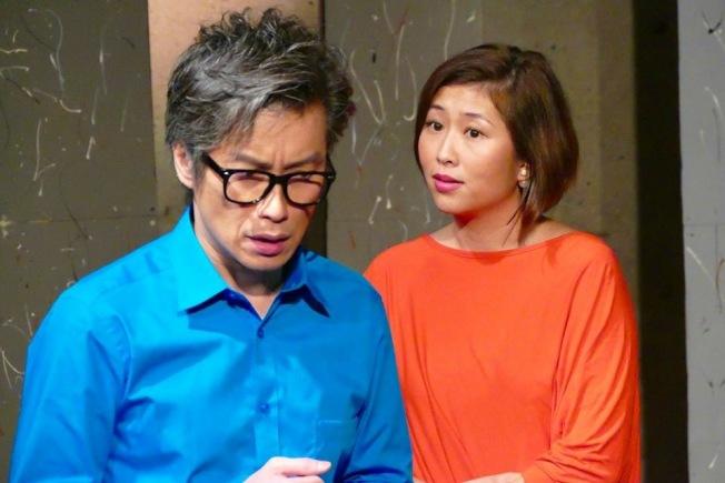 程慧珊(右)與文嘉永(左)共同演出「大話情人」。(記者張晨╱攝影)