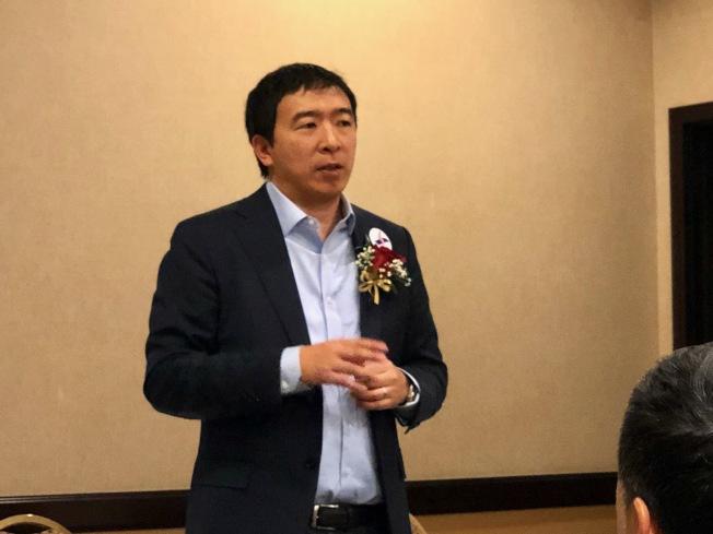 參選2020年民主黨總統提名人的華裔楊安澤。(記者張宏/攝影)