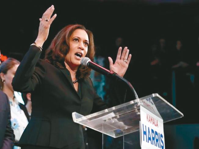 紐時的專欄作者萊昂哈特說,宣布選總統的賀錦麗是民主黨眾多參選人的領跑者。(Getty Images)