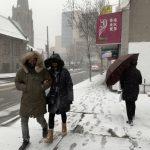 〈圖輯〉 強風勝過降雪  紐約街頭即景