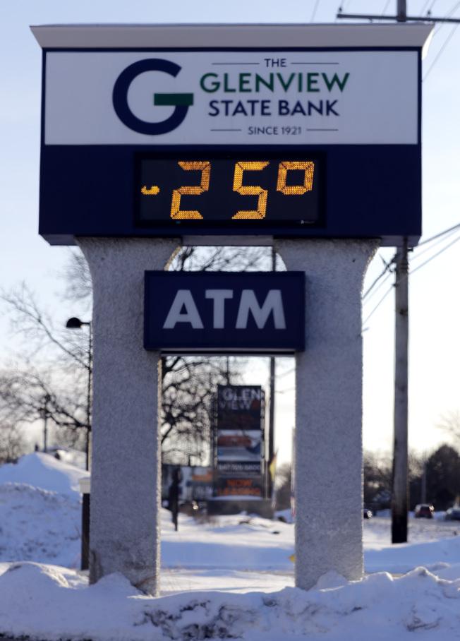 伊利諾州Glenview氣溫低至-25℉,當地郵局罕見的停止送信。(美聯社)