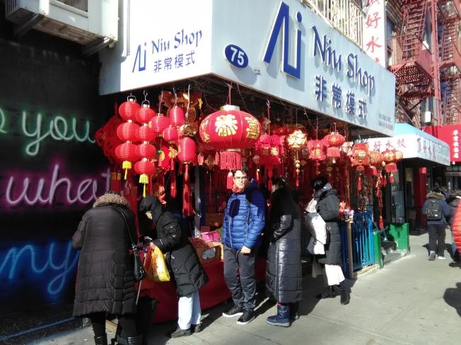 春節前夕,曼哈頓唐人街已露出春節氣氛。(韓傑/攝影)