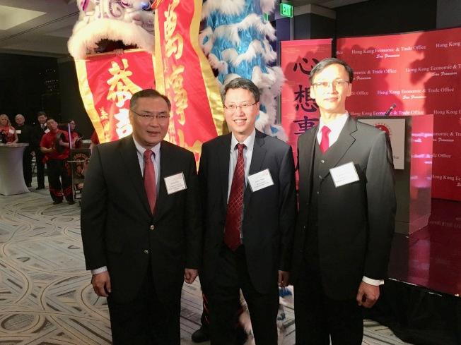香港經貿處洛杉磯春節酒會慶祝農曆豬年,(左起)張平、麥德偉、蔣志豪。(記者丁曙/攝影)