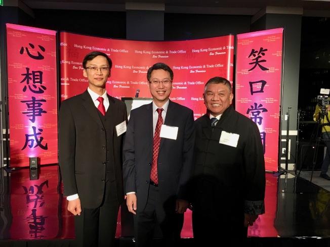 香港經貿處洛杉磯春節酒會慶祝農曆豬年,(左起)蔣志豪、麥德偉、沈時康。(記者丁曙/攝影)
