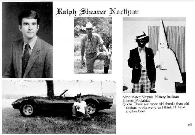 諾譚1984年的東維吉尼亞醫學院畢業冊一張帶有嚴重種族歧視的照片,引發維州政治大地震。(Eastern Virginia Medical School)