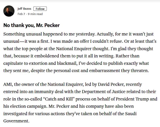 不甘受威脅,亞馬遜創辦人貝索斯7日親自在網上披露遭勒索的經過。(取自https://medium.com)     https://medium.com/@jeffreypbezos/no-thank-you-mr-pecker-146e3922310f