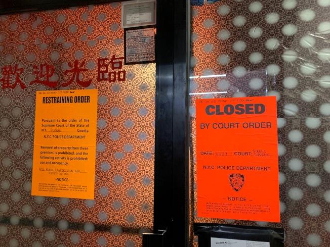 法拉盛40路135-25號二樓一間非法按摩店被查封,顧雅明表示未來將整頓該區賣淫嫖娼問題。(記者賴蕙榆/攝影)