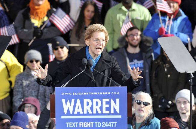 麻州國會參議員華倫宣布參選,角逐2020年民主黨總統提名,圖為華倫在麻州勞倫斯誓師。(Getty images)