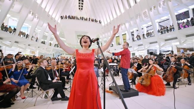 美國亞文交響樂團在世貿中心內舉辦新春音樂會。(美國亞文交響樂團提供)