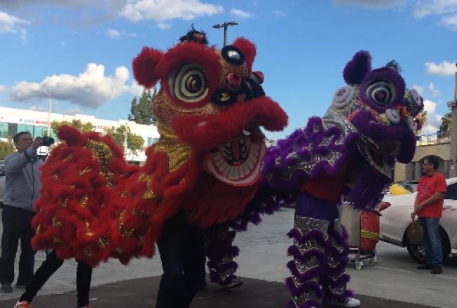 瑞狮在四季广场向商家和民衆拜年。(记者杨青/摄影)