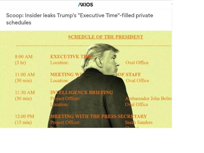 Axios新聞網站公布的川普總統私人時間表。(Axios網站)