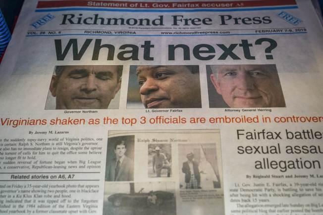 維州政壇幾大巨頭同時身陷醜聞,圖為州府的報紙不禁要問「接下來會發生什麼?」。(Getty Images)
