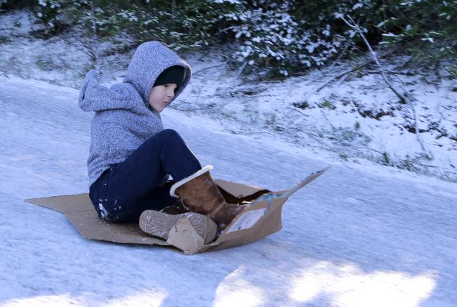 北灣馬連縣的塔瑪派斯山公園5日下雪,一名男孩在公園玩滑。(美聯社)