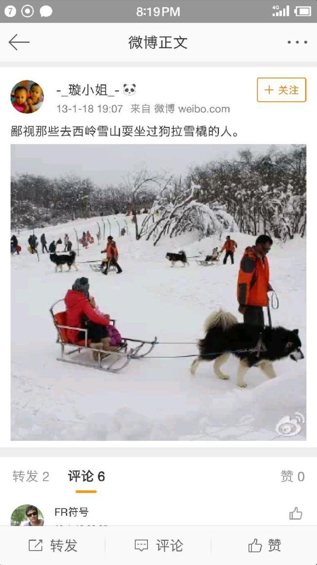 有網友在微博批評西嶺雪山「狗拉雪橇」項目。(取材自上游新聞)