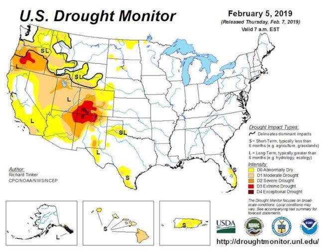 「美國乾旱監測系統」(US Drought Monitor)近日公布,全美目前最乾旱的地方,在科羅拉多、猶他、亞利桑那、新墨西哥等四州交界(Four Corners)廣大地區。(US Drought Monitor)