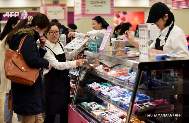 日本有項行之有年的傳統,女性在情人節當天需向男性同事和友人贈送巧克力。Getty Images