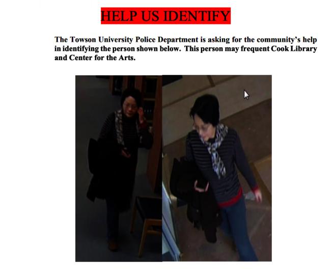 陶森大學校園警方發布提醒「尋人」,希望告知該亞裔媽媽停止這類行為。(陶森大學校園警方通知截圖)