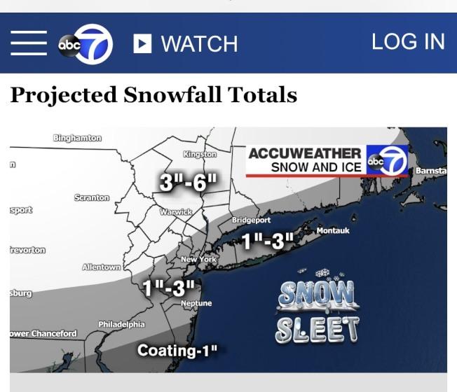 紐約市和長島今日迎來降雪和降雨天氣,預計路況不佳,民眾出行要注意安全。(ABC電視台網站截圖)