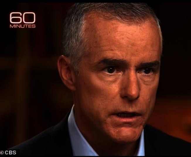前聯邦調查局副局長長在17日晚播出60分鐘專訪中明指對川普總統展開是否「通俄」的調查。川普總統18日推文直指此一行動「叛國」。(取自cbs)