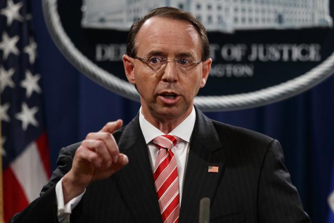 司法部副部長羅森斯坦,據傳將在3月中離職。(美聯社)