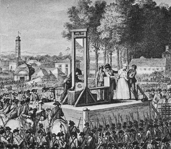 被送上斷頭台的瑪麗王后。(Wikimedia Commons)